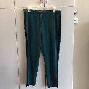 Green and black tuxedo trousers